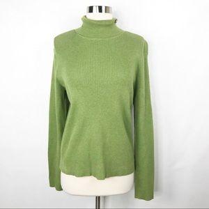 Polo Ralph Lauren Green Ribbed Turtleneck Sweater